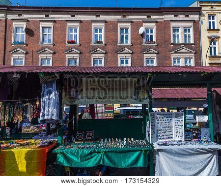 KRAKOW POLAND - 15TH OCTOBER 2016: Market Stalls at Plac Nowy in the Kazimierz district of Krakow