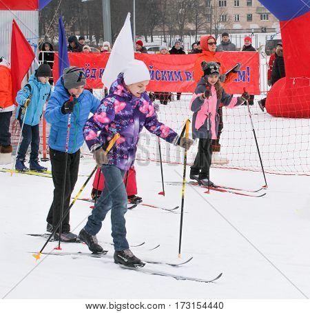 Kirishi, Russia - 11 February, Start skiing teenagers, 11 February, 2017. Mass ski race Russian Ski Track.