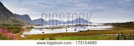 Norway Fjord. Cloudy Summer Landscape Panorama