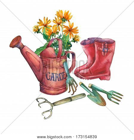 Vintage red garden watering can with a bouquet of yellow flowers, red rubber boots and garden tools. Hand drawn watercolor painting on white background.