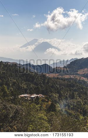 Twin Volcanoes In Guatemala