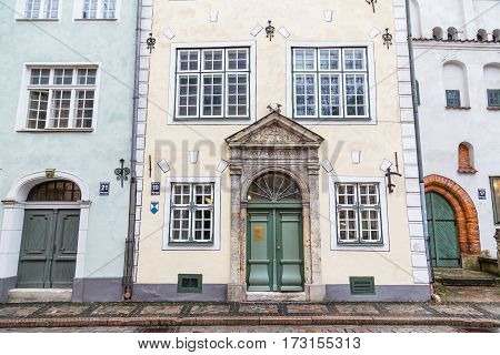 RIGA LATVIA - 2ND JAN 2017: One of the buildings that's part of Three Brothers (Tris brali) in Riga. These buildings are some of the oldest in the city.