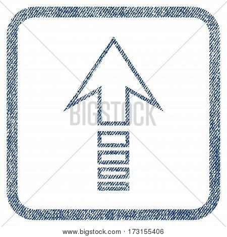Send Up vector textured icon for overlay watermark stamps. Blue jeans fabric vectorized texture. Symbol with unclean design inside rounded rectangular frame.