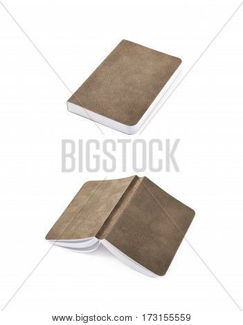 Paper notebook with a leather cover isolated over the white background, set of two different foreshortenings