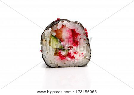 Roll With Shrimp, Tobiko Caviar And Avocado. Insulated.