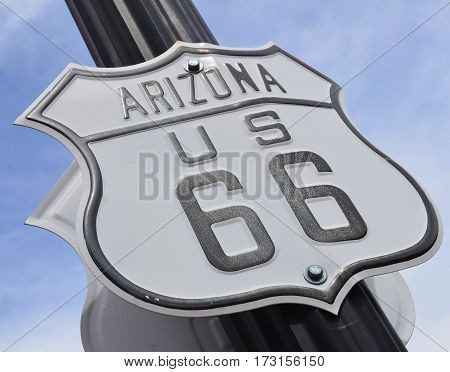 WILLIAMS ARIZONA APRIL 15: Sign of U.S. Route 66 also known as the Will Rogers Highway and colloquially known as the Main Street of America or the Mother Road. on april 15 2014 in Williams Arizona