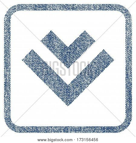 Shift Down vector textured icon for overlay watermark stamps. Blue jeans fabric vectorized texture. Symbol with dirty design inside rounded rectangle.