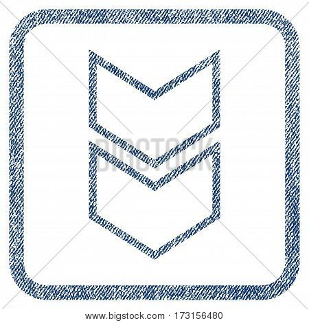 Shift Down vector textured icon for overlay watermark stamps. Blue jeans fabric vectorized texture. Symbol with unclean design inside rounded rectangle.