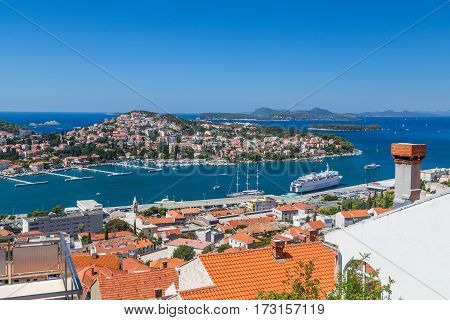 DUBROVNIK Croatia - 14TH AUGUST 2016: A high view of buildings in the harbour in Dubrovnik during the day in the summer.