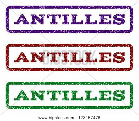 Antilles watermark stamp. Text tag inside rounded rectangle frame with grunge design style. Vector variants are indigo blue red green ink colors. Rubber seal stamp with dust texture.