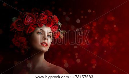 Beautiful girl with roses on red background. Women's holiday