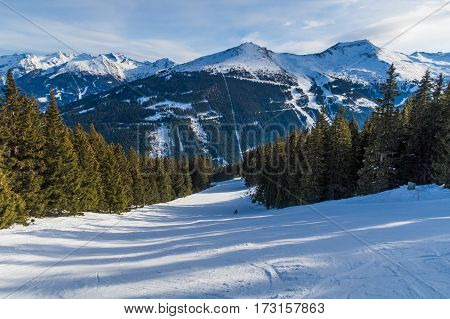 Tree runs at a ski resort in the winter. Fresh snow piste and mountains can be seen.