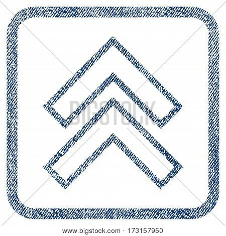Shift Up vector textured icon for overlay watermark stamps. Blue jeans fabric vectorized texture. Symbol with unclean design inside rounded rectangular frame.
