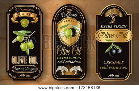 Vector vintage style olive oil labels with decorative plant branches and symbols on wooden background. Elegant gold and black design for olive oil packaging. Font names included in the layers