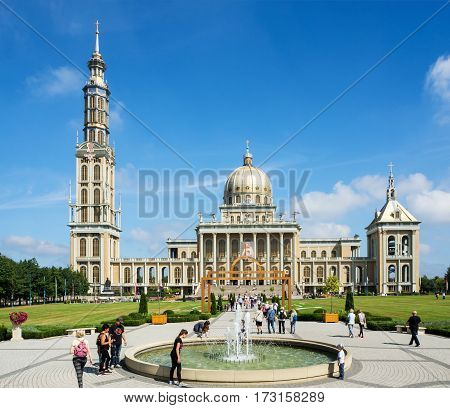 LICHEN, POLAND - AUGUST 24, 2016: Sanctuary and Basilica of Our Lady of Sorrows, Queen of Poland, in Lichen. The biggest church in Poland and one of the largest in the World. Famous pilgrimage site