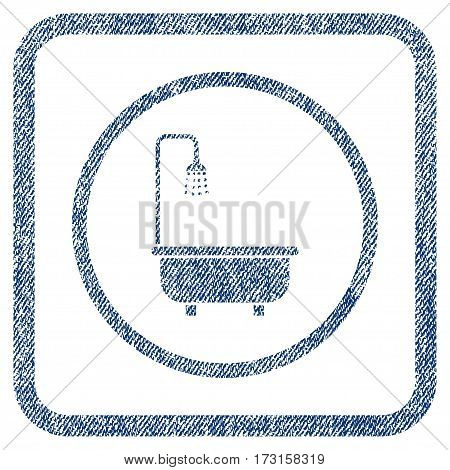 Shower Bath vector textured icon for overlay watermark stamps. Blue jeans fabric vectorized texture. Symbol with dirty design inside rounded rectangular frame.