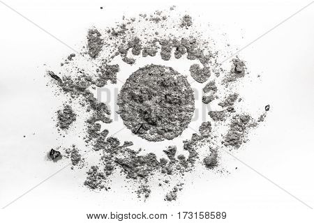 Sun drawing made in dust dirt ash sand as sunlight universe chaos order clean dirty sign symbol abstract shape metaphor explosion heat fusion concept background