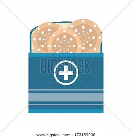 package with medical band aid vector illustration eps 10