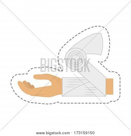 cartoon hand woman bandage medicine vector illustration eps 10
