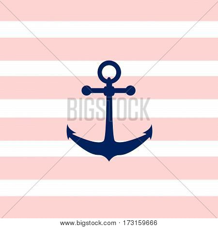 Illustration of a ship anchor on pink and white stripped background.