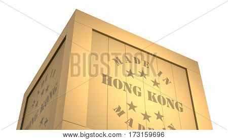 Import - Export Wooden Crate. Made In Hong Kong. 3D Illustration