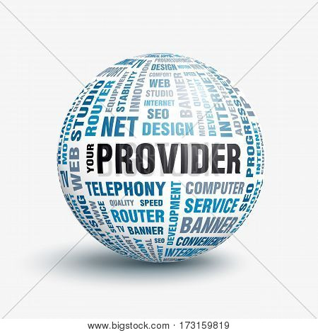 The concept of advertising your service provider. Vector volumetric 3D ball