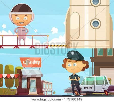 People professions two horizontal banner  with cute cartoon kids in suits of policeman and astronaut flat vector illustration