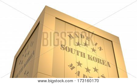 Import - Export Wooden Crate. Made In South Korea. 3D Illustration