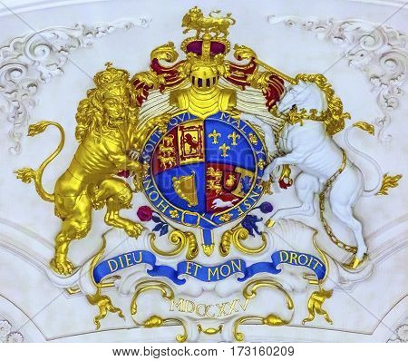 LONDON, ENGLAND - JANUARY 15, 2017 Royal Coat Arms Saint Martin Fields Anglican Church London England. Dedicated to Saint Martin of Tours in 1722 to 1726 is a Church of England Anglican church. Ded