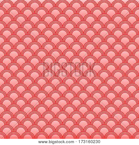 Classic japanese squama seamless pattern for textile industry, fabric design, pink color with gradient