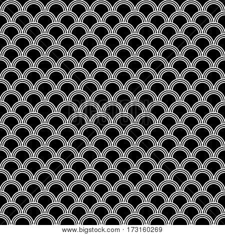 Classic japanese squama seamless pattern for textile industry, fabric design. Black and white monochrome color