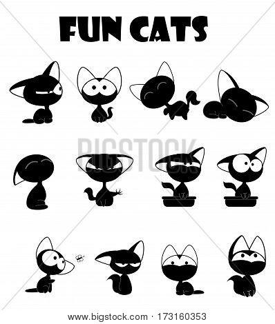 Fun cute black cats set. Vector Illustration Cartoon