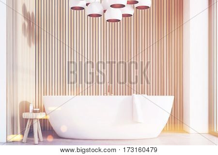 Bathroom With Lamps, Light Wood, Front, Toned