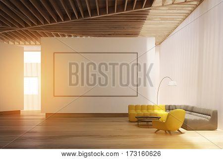 White Living Room Interior, Whiteboard, Toned