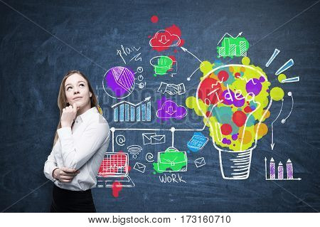 Portrait of a blond businesswoman wearing a white shirt and standing near a blackboard with a colorful creative idea sketch.