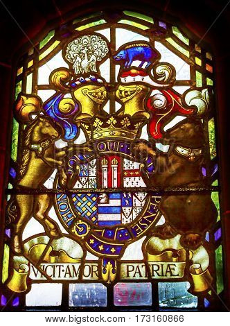 LONDON, ENGLAND - JANUARY 17, 2017 Coat of Arms Supreme Court London England. Vicit Amour Patria says Love Conquers Country