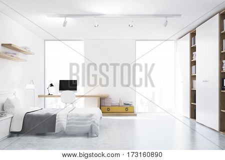 Front view of a bedroom with a home office a double bed and two bookshelves above it. A large window is situated in a white wall. 3d rendering. Mock up.