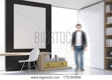 Man At Stylish Workplace With Computer At Home