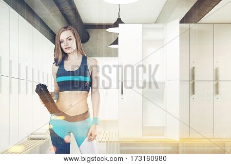 Woman In Locker Room With Open Door, Toned