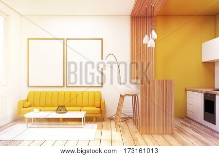 Living Room With Two Pictures In A Studio, Toned