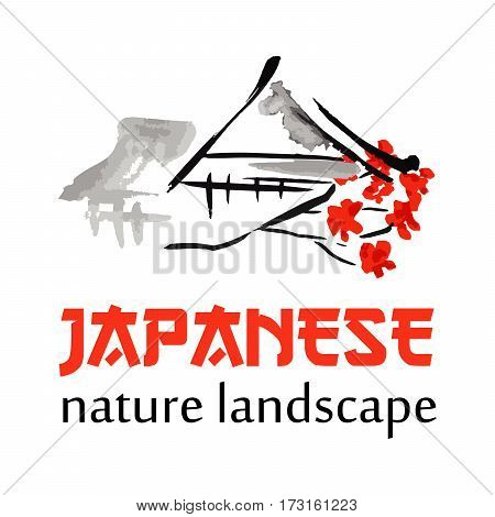 Asian landscape, building symbol and sakura blossoming branch in traditional japanese sumi-e style. Vector red sign, hieroglypgs Japan Park design