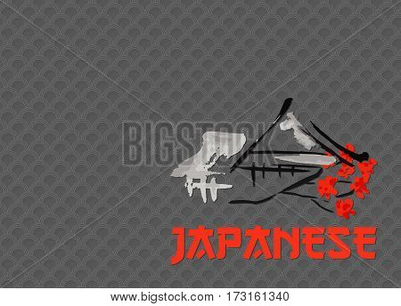 Asian landscape, building symbol and sakura blossoming branch in traditional japanese sumi-e style. Classic patterned dark grey background. Can be used for restaurant menu cover design