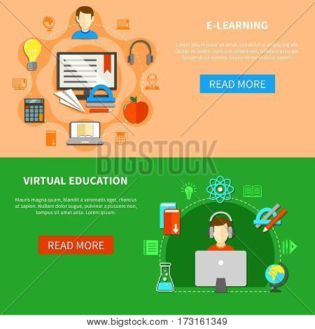 Two horizontal e learning banner set with virtual education headline and buttons read more vector illustration