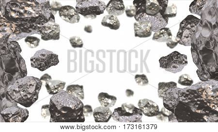 Abstract background in the space with silver asteroids. Copyspace empthy area. Can be used as a decorative greeting grungy or postcard framing for your design or text . 3d illustration.