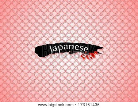 Japanese word written like hieroglyph on black decorative brush stroke and pink patterned background. White sakura blossoming branch silhouette with shadow.Can be used for restaurant menu cover design