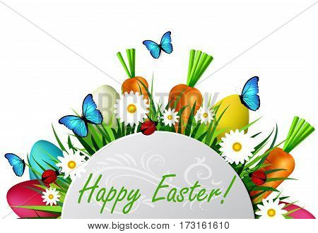Happy Easter card with eggs camomiles butterflyes ladybugs carrots and grass