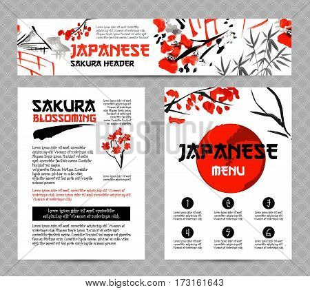 Banners or posters set with asia landscapes, buildings and blossoming sakura branch in traditional japanese sumi-e style. Vector brochure templates