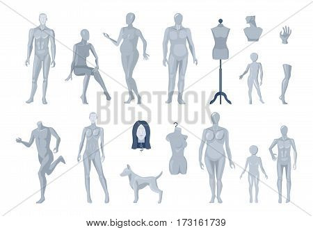 Display window and tailor mannequins selection with running male and children light grey images collection isolated vector illustration