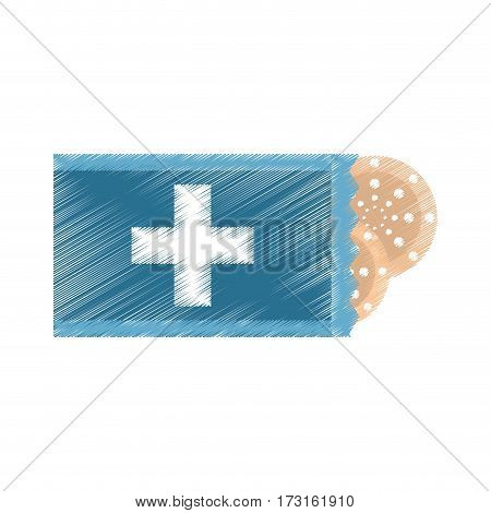 drawing package with medical band aid vector illustration eps 10