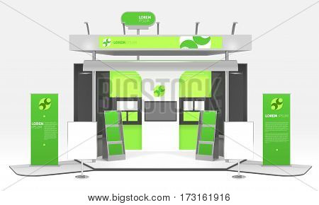 Advertising exhibition colorful dummy box realistic 3d design composition with infographic stands promo posters and highlighting vector illustration